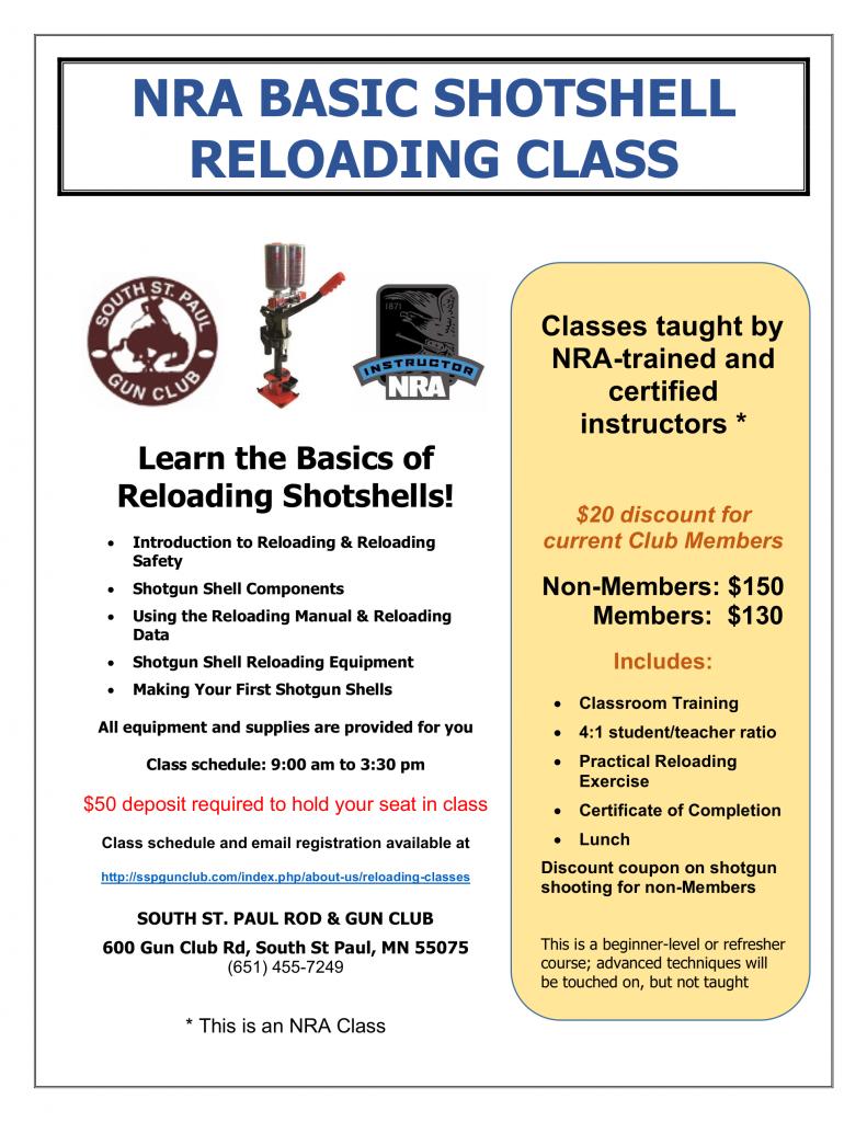 Basic Shotshell Reloading Class Flyer