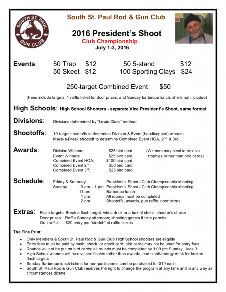 2016 President's Shoot Flyer