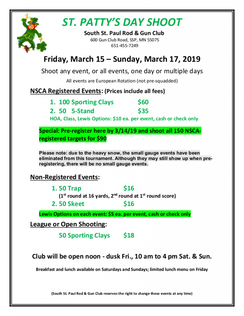 2019 St  Patty's Day Shoot is March 15-17 – Updated Events